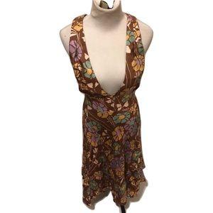 Marc Jacobs halter brown floral dress size 4